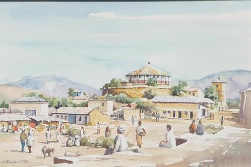 Market and round church of Adigrat, 1993