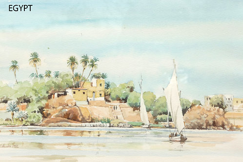 Sailing dhows at Aswan, 1982