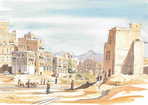 Road through central Sanaa, 1984