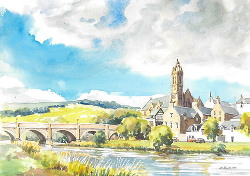 Peebles from the River Tweed, 1989