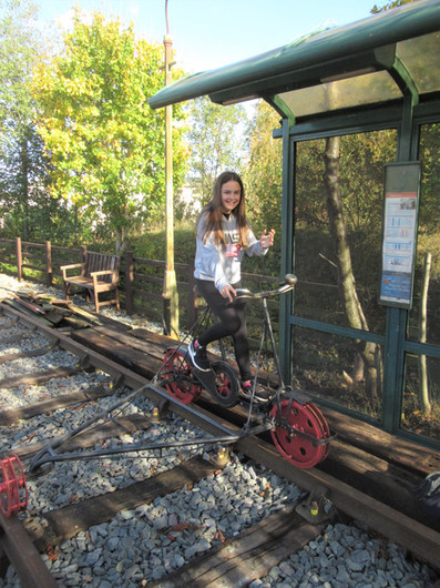 A youngster tries out the Rail Bike