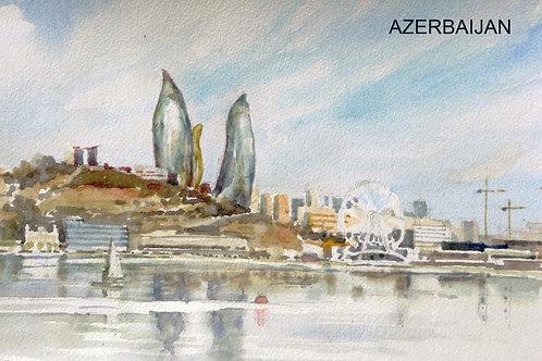 Baku from the Caspian Sea, 2015