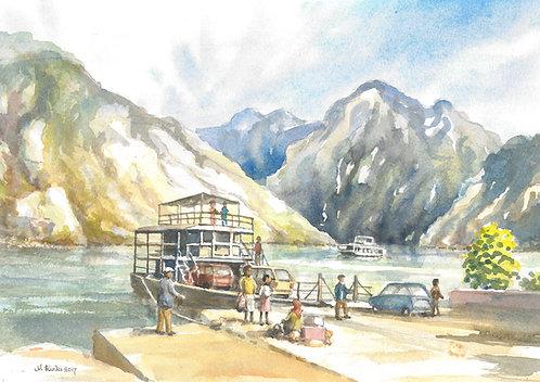 Ferry jetty at Fierze, Lake Komani 2017