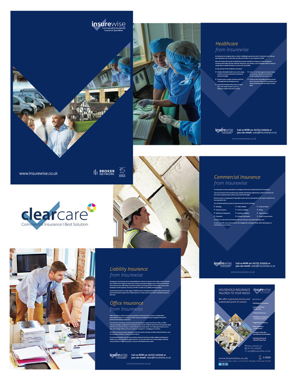 Range of work for Insurewise – including: logo designs, stationery, business forms. brochure and advertising