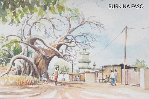 Baobab tree with mosque behind in Po, 2004