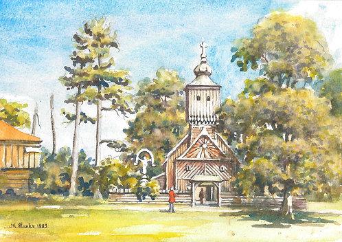 Wooden church at Roznov, 1989