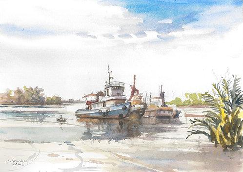 Fishing boats near Douala, 2016