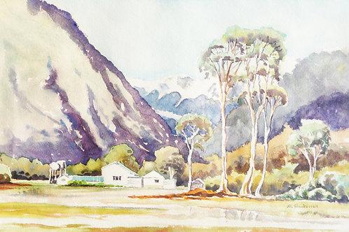 Youth Hostel with Fox Glacier behind, 1969