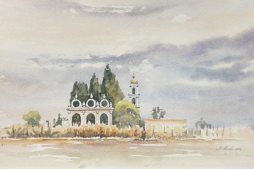 Large church at Cholula, 1976