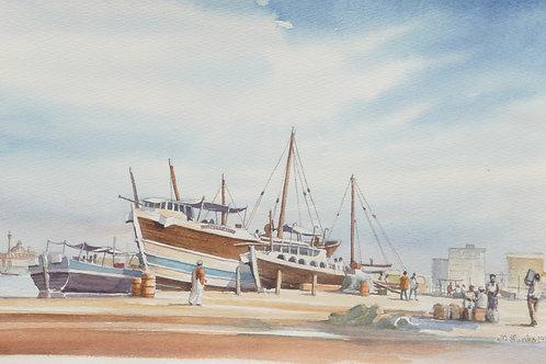 Sailing dhows at Dubai Creek, 1985