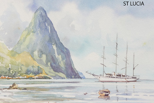 The Pitons from Soufriere Bay, 1991