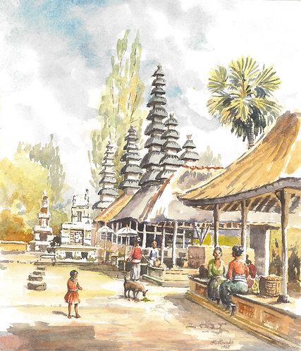 Typical temple scene, Bali, 1969
