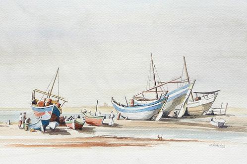 Fishing boats on Jeddah beach, 1983
