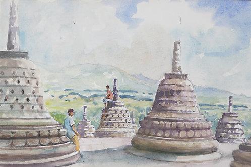 Part of Borobudur Temple on Java