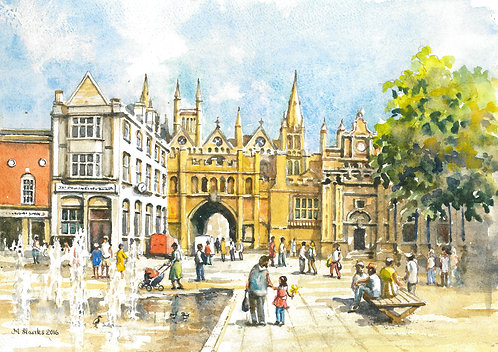 Cathedral Square and archway entrance, Peterborough.
