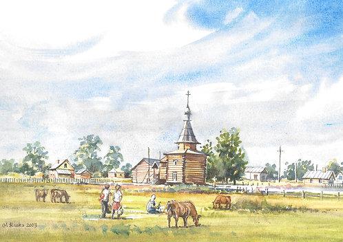 Village scene north of St. Petersburg, 2003