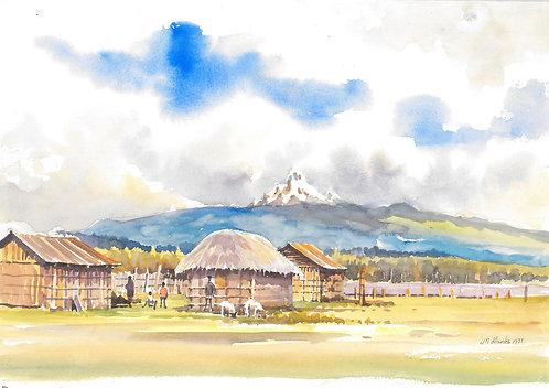 A village at Mount Kenya, 1977