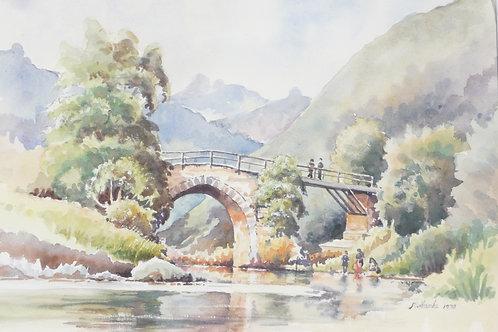 Old bridge in hills, 1970