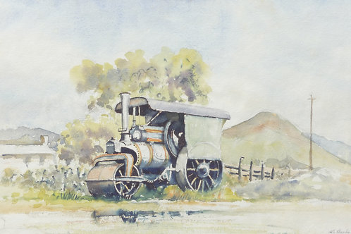 Old steam roller at Knock, 1967