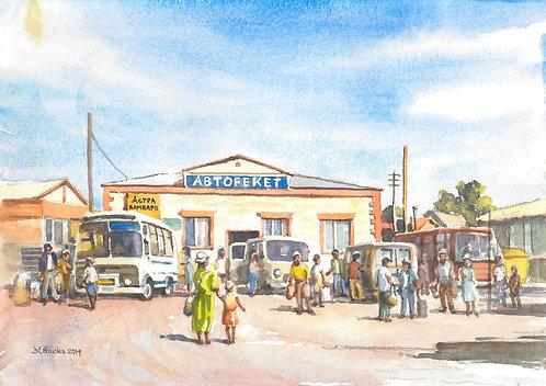 Market and bus station, Aralsk, 2014