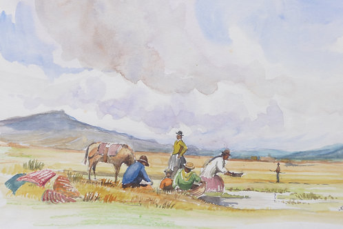 Washing clothes on Altiplano, 1971