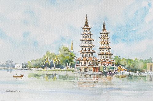 Dragon and Tiger Pagodas near Kaohsiung, 1985