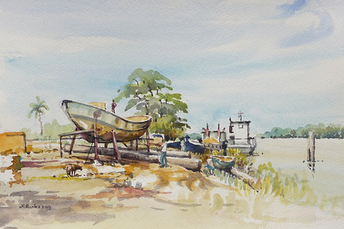 Repairing boats on Corantijn River near Nickerie, 2013