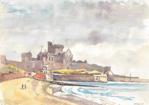 Peel Castle from the beach, 1967