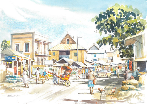 Ambositra main street and market, 2006
