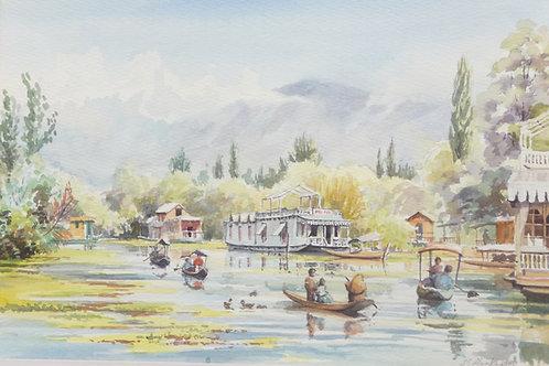 Houseboats on Dale Lake, Srinagar, Kashmir, 1980