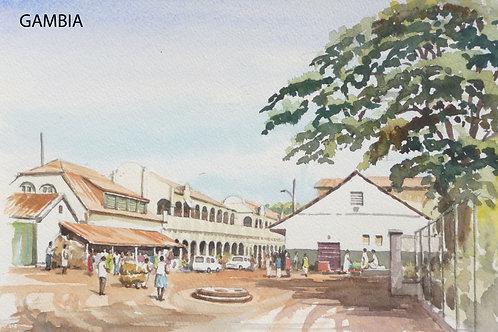 Market area in the capital, Banjul, 1992