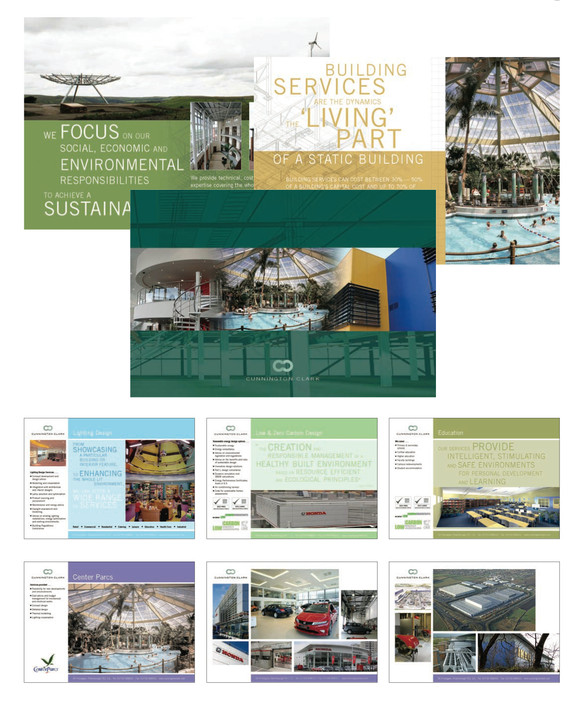 Cunnington Clark company brochure for clients including: Honda, Center Parcs and IKEA