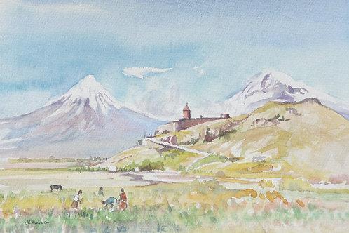 Khor Virap Monastery with Mount Ararat behind, 2004