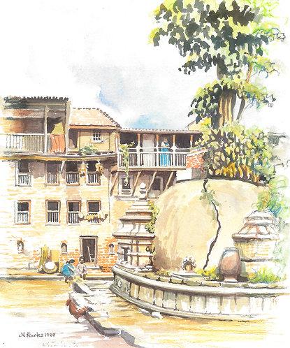 Small square in Kathmandu, 1968