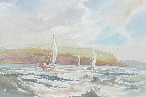 Sailing off Harlech, 1984