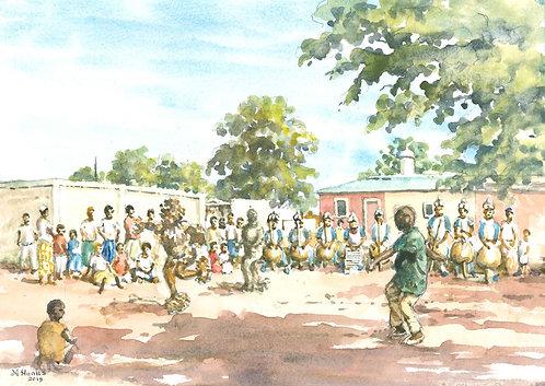 Boloy tribal dance at a Korhogo village , 2019