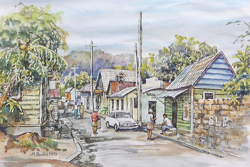 Back street of Castries, 1991