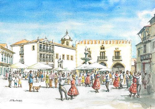 Folk dancers in old plaza, Viana do Castelo, 2019