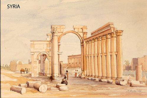Roman aqueduct at Palmyra, 1980