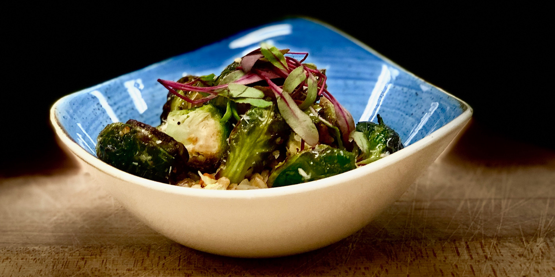 Roasted Brussel Sprouts over Farro Risotto