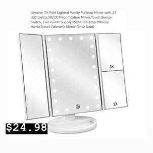 Trifold- Vanity Mirror with Lights