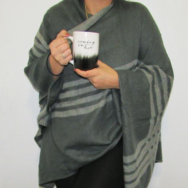 BB Dakota Poncho in Charcoal & Homemade by Ayesha Curry Ceramic Mug. Mine says: Coming in HOT