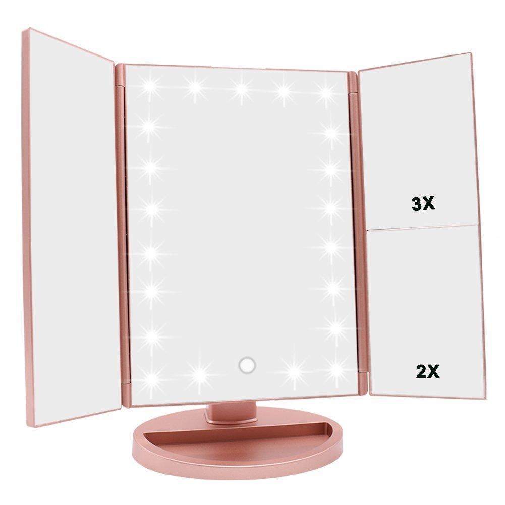 Tri-Fold Lighted Vanity Mirror