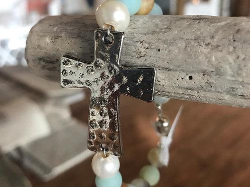 Cross Amazonite Bracelet by The Beaded Sister