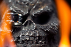 fire and skull ring photography