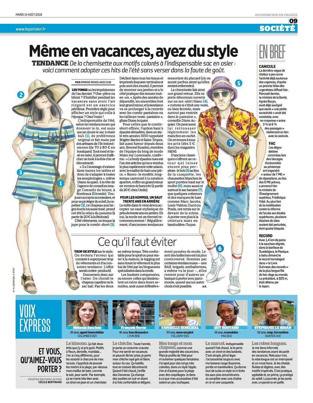 article Conseils de brune pour Le Parisien Journal