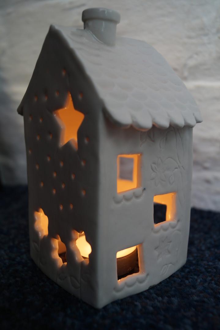 Lit tealight house