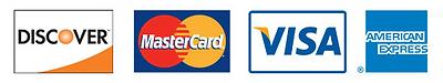 Discover, Master Card, Visa, AMEX
