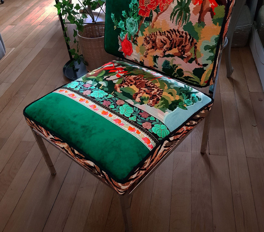 Upcycling chaise basse année 70 b