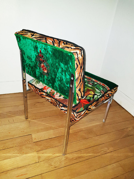 Upcycling chaise basse année 70 l